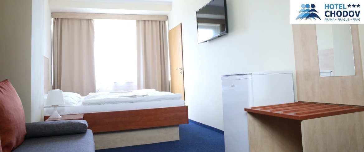 Hotel Chodov Praha - interior of a comfortable Superior*** EXTRA category room with extra amenities including a refrigerator and a large LCD TV