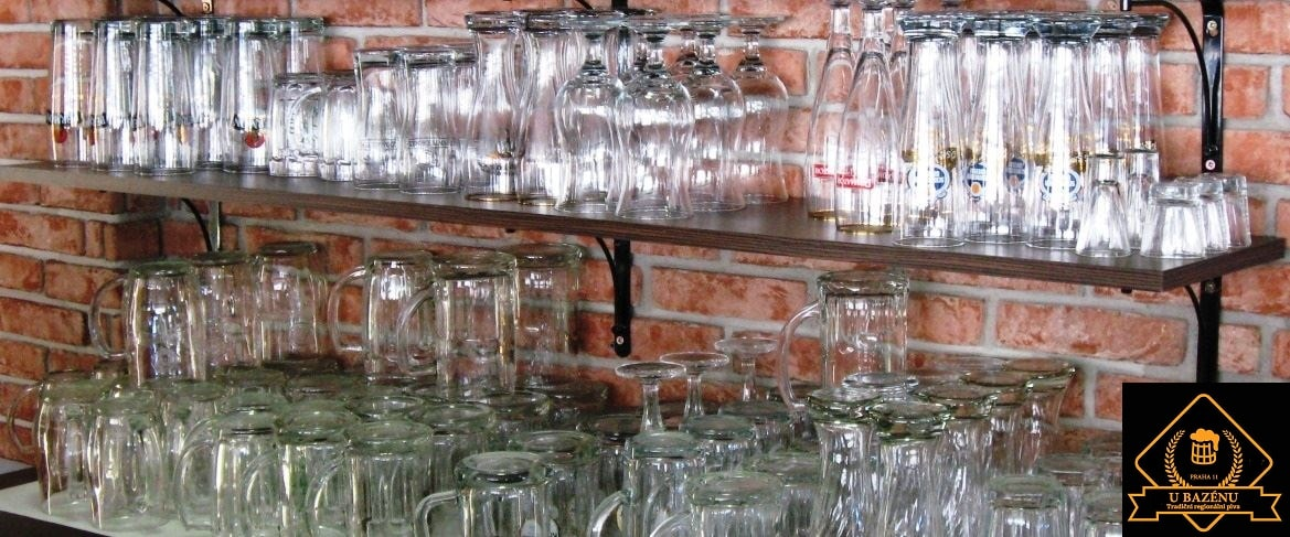 Pivnice u bazénu - beer glasses from traditional regional breweries
