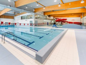 Interior of the indoor swimming pool Jedenáctka Water World