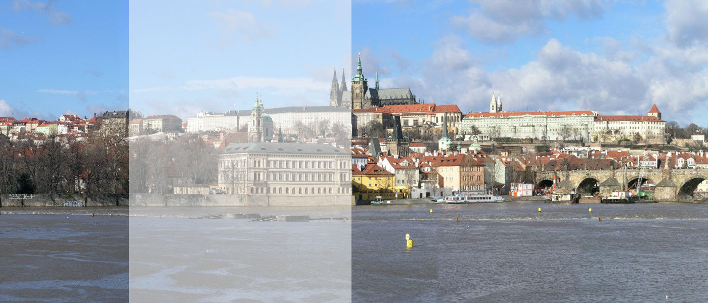 View of the center of Prague looking across the Vltava at Kampa Island, Prague Castle and Charles Bridge